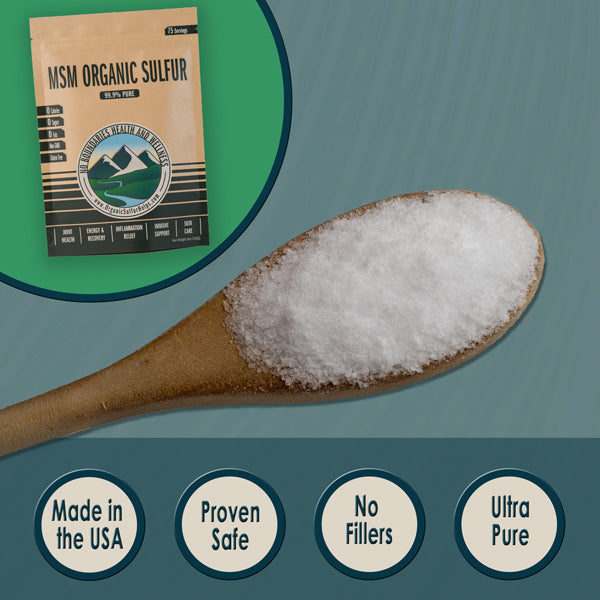 Our MSM Organic Sulfur is proven safe and USA made