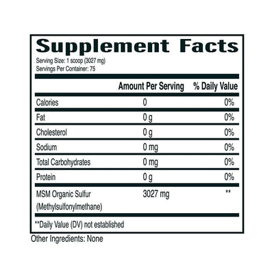 Supplement facts displaying nutritional information for MSM powder from No Boundaries Health and Wellness