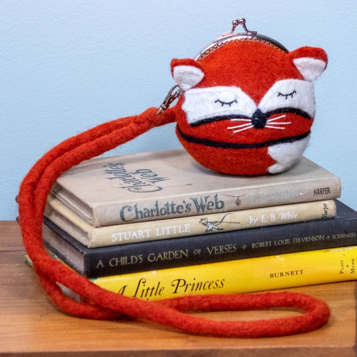 Felted Critter Clutch - Sleepy Fox