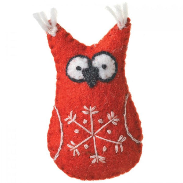 Wool Ornament - Snowflake Red Owl