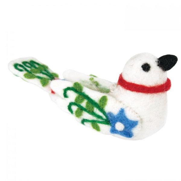 Wool Ornament - White Alpine Love Bird