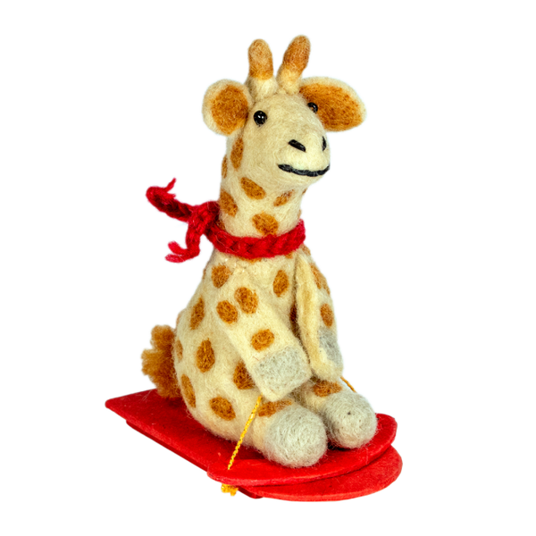 Wool Ornament - Sledding Giraffe