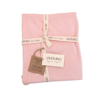 Organic Cotton Sweater Knit Baby Blanket - Blush