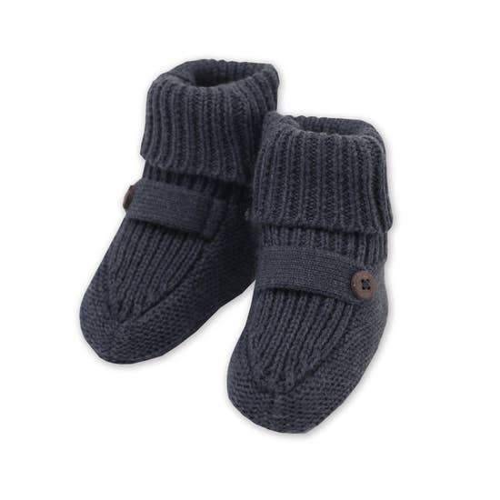 Organic Cotton Knit Booties - Charcoal