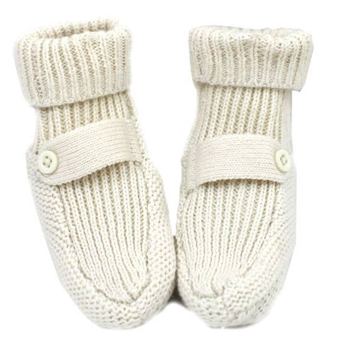 Organic Cotton Knit Booties - Cream