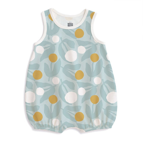 Bubble Romper - Dahlias Pale Blue