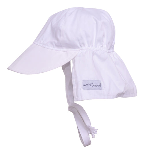 Original Flap Hat With Ties - White