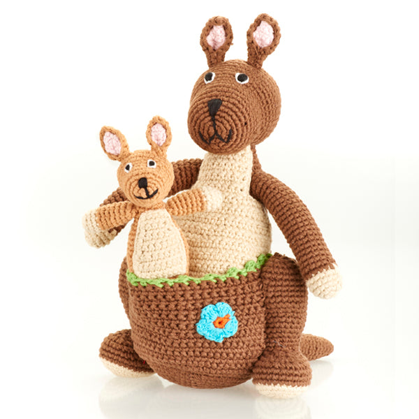 Large Hand Knit Kangaroo with Kid
