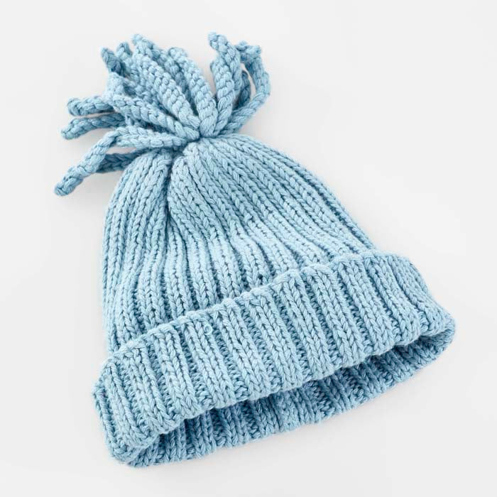 Organic Ribbed Hat - Duck Egg Blue