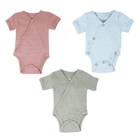 Organic Short Sleeve Kimono Onesie (multiple colors)