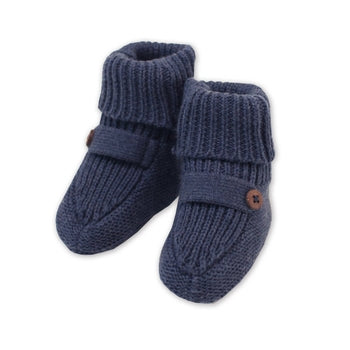 Organic Cotton Knit Booties - Indigo