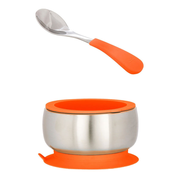 Avanchy Stainless Steel Baby Bowl + Spoon + Airtight Lid - Orange