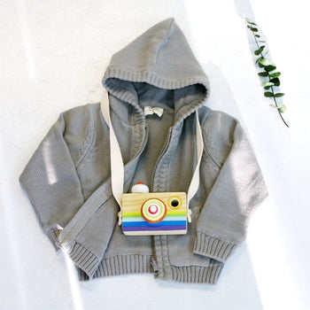 Organic Cotton Knit Hoodie - Grey