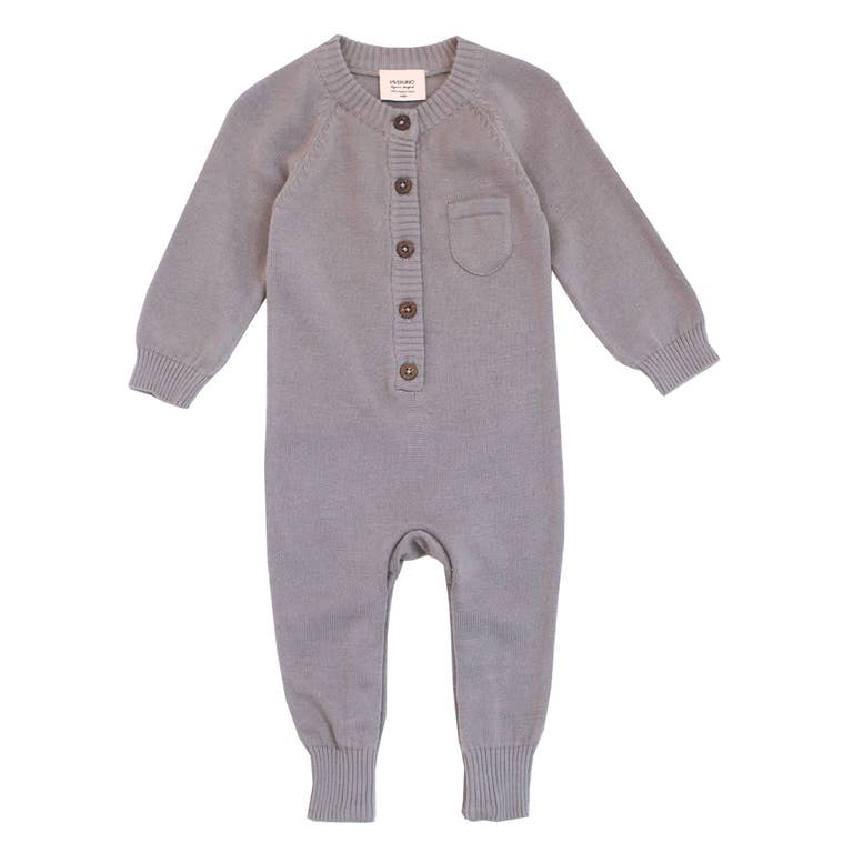 Organic Cotton Knit Romper - Grey