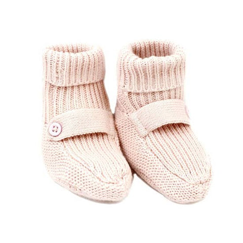 Organic Cotton Knit Booties - Blush