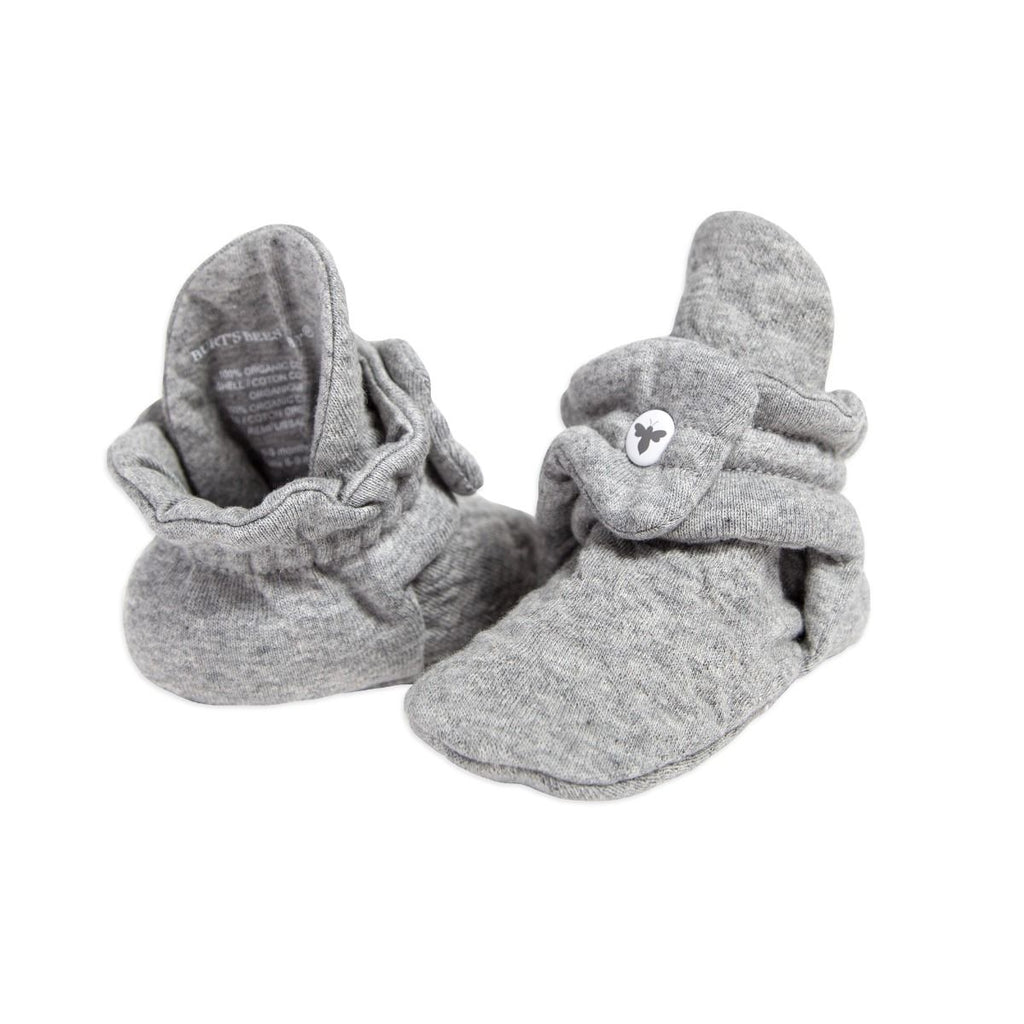 Organic Quilted Baby Booties - Heather Grey