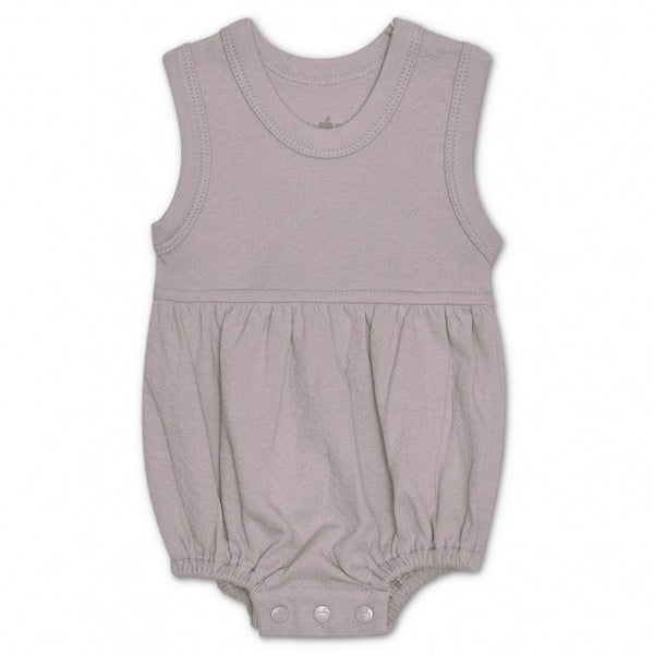 Grey Pointelle Organic Bubble Romper