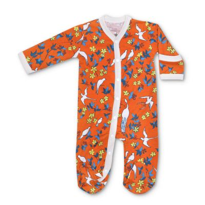 Enchanted Leaves Orange Long Sleeve Footie