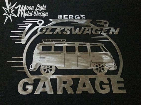 Volkswagen 13 Window Microbus Bus Metal Gargae Sign With Any Name On Top
