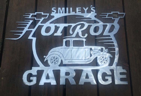 31 Chevy Coupe Metal Hot Rod Garage Sign With Any Name On Top