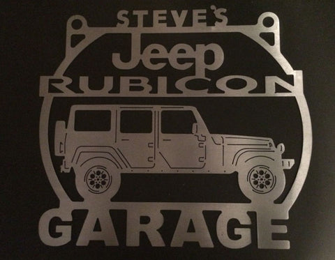 Jeep 4 Door Rubicon Metal Garage sign Personalized / ANY Name On Top