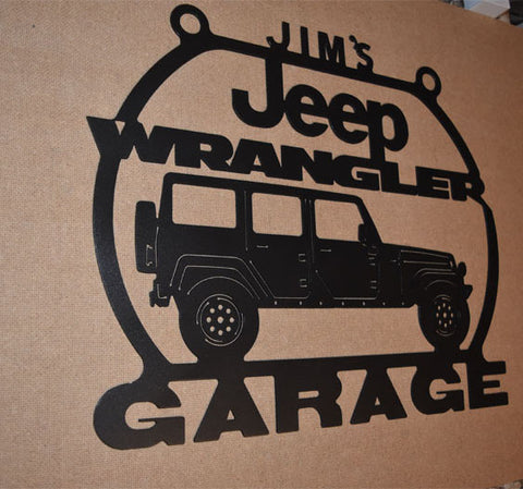Jeep Wrangler Unlimited Sport Metal Garage sign Personalized / ANY Name On Top