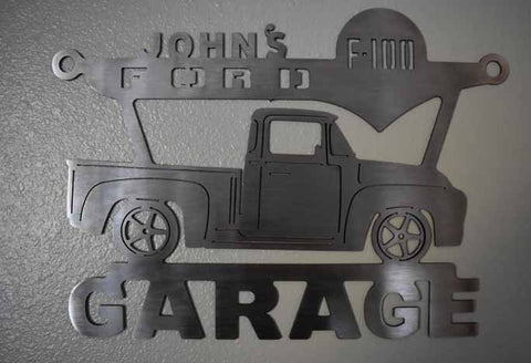 FORD F-100   Pickup 1956 Custom and Personalized Metal Garage Sign