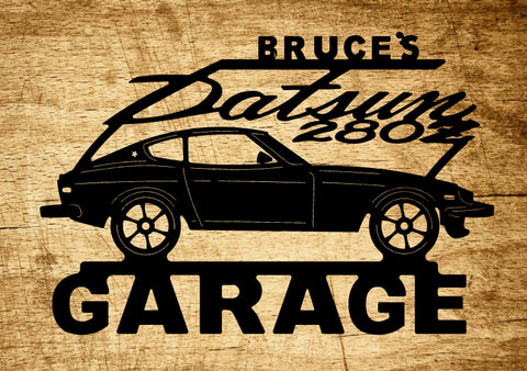 Datsun 280Z Metal Garage Sign / Any Name On Top