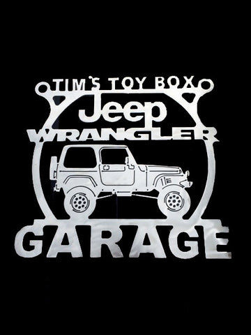 Jeep Wangler Metal Garage Sign