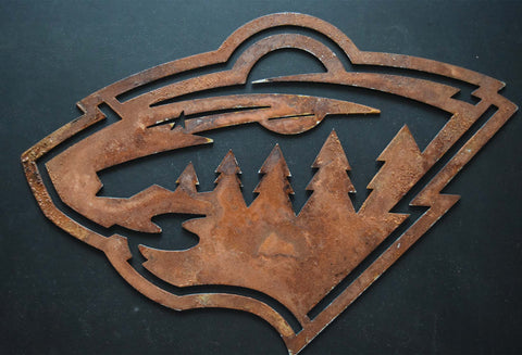 Minnesota Wild Metal Art  Metal Art Brushed steel or black hammered finish