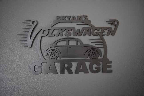 Volkswagen Beetle Bug Metal Garage Sign With Any Name On Top 1st 2nd Generation