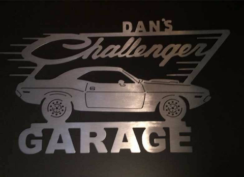 Dodge Challenger Metal Garage Sign with Any Name On Top / 2nd generation