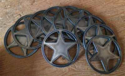 Round Stars Texas style 3 inch Lot Set of 10 / Rusty Vintage Antique style Metal Steel Wall Art Ornament / Metal Steel Craft Supplies / Magnet / Stencil