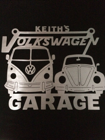 Volkswagen Bus and Beetle Metal Garage sign / ANY Name On Top / ANY NAME ON TOP