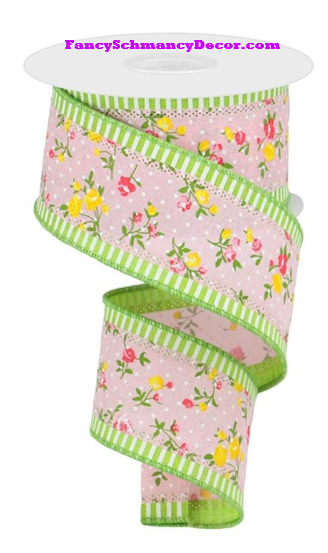 "2.5"" X 10 yd 3 In 1 Vintage Floral/Stripe Pastel Pink Lime White Wired Ribbon"