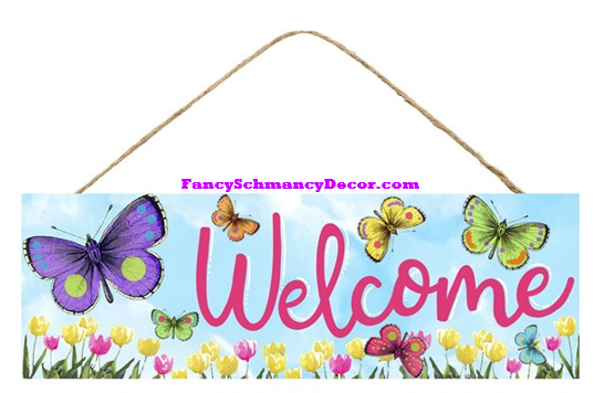 "15"" L X 5"" H Welcome W/Butterflies Sign"