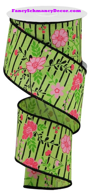 "2.5"" X 10 yd Floral Lines On Royal Bright Green/Multi Pink/Black Wired Ribbon"