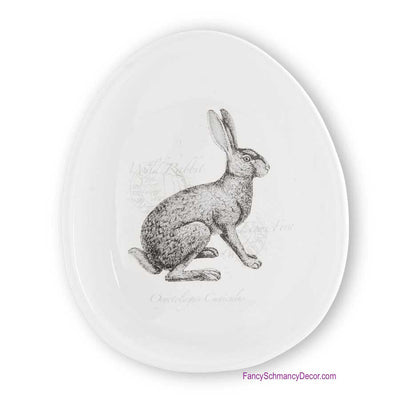 "7"" White Ceramic Bowl with Rabbit Motif by K&K Interiors"