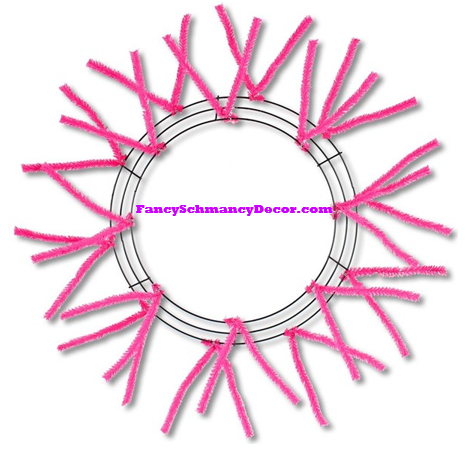 "15"" Wire, 25"" Oad-Pencil Hot Pink Work Wreath"
