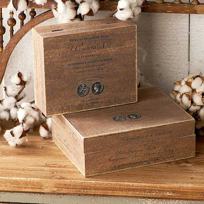 Set of 2 Brown Square Nesting Boxes - FancySchmancyDecor