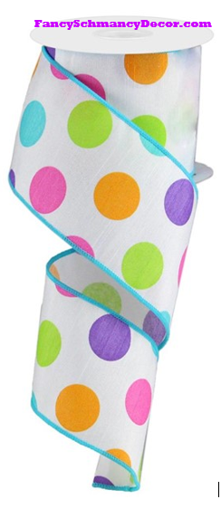 "2.5"" X 10 yd Multi Polka Dots/Faux Dupioni White Purple Pink Orange Lime Turquoise Wired Ribbon"