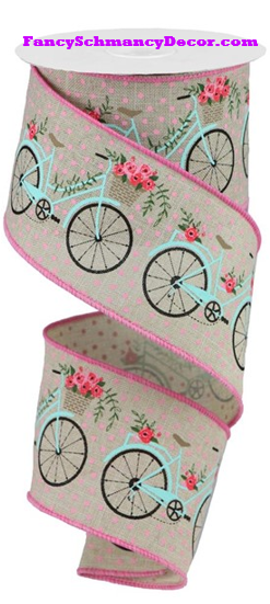 "2.5"" X 10 yd Bicycles On Royal Wired Ribbon"