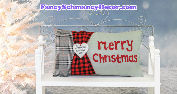 Merry Christmas Gnome Grey Plaid Christmas Accent Pillow