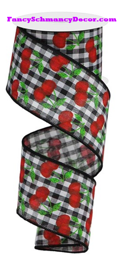 "2.5"" X 10 yd Cherries On Gingham Check Wired Ribbon"