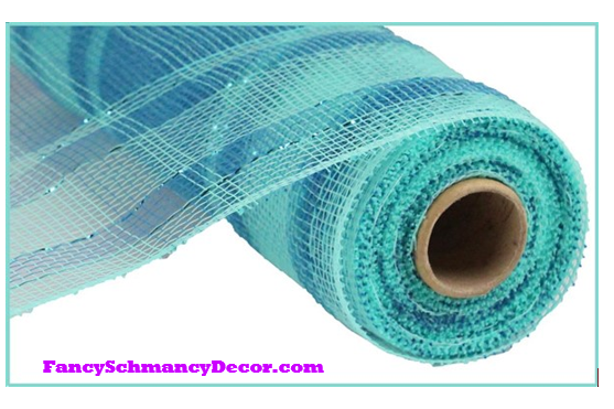 "10"" x 10 yd Plaid Metallic Aqua/Turqoise Mesh"