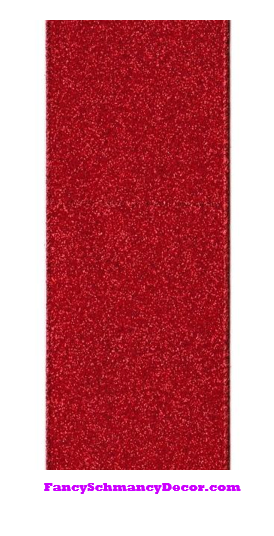 "2.5"" X 10yd Red Vintage Glitter Wired Ribbon"