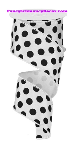 "2.5"" X 10 yd Large Polka Dot Wired Ribbon"