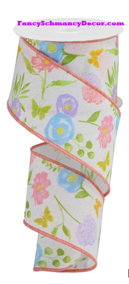 "2.5"" X 10 yd Wildflowers On Royal Wired Ribbon"