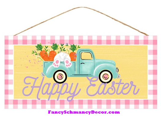 "12.5""L X 6""H Happy Easter Truck Sign"