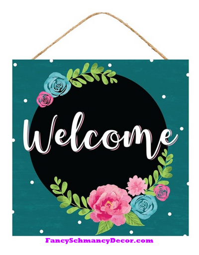"10"" Sq Welcome Floral Sign"